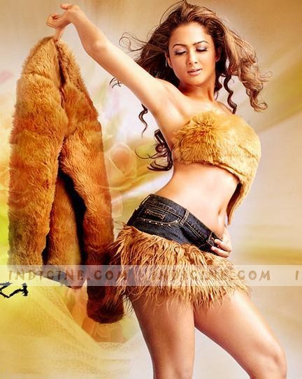 Amrita Arora in a jacket and skirt made of fur