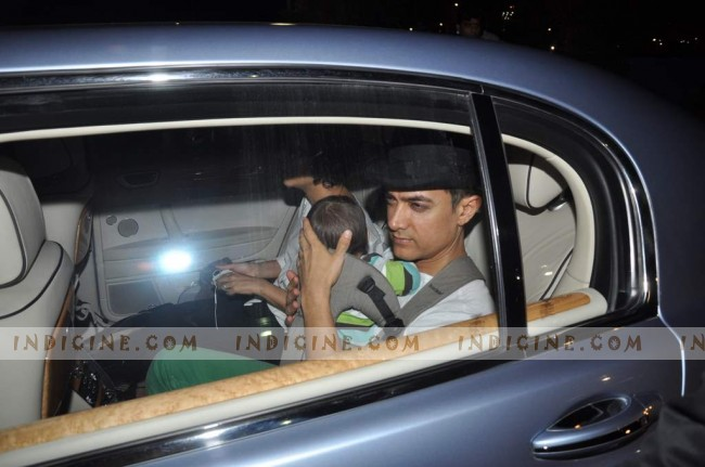 Aamir Khan snapped with baby Azad