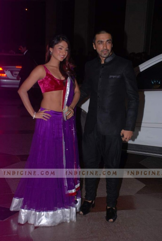 Aashish Chaudhary with wife Samita Bangargi at Esha Deol's sangeet ceremony