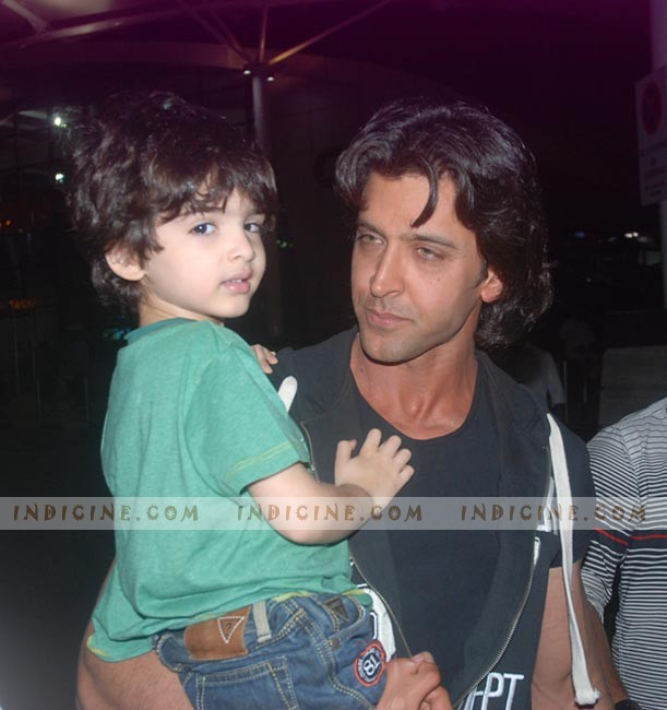 Hrithik Roshan with his son at the airport