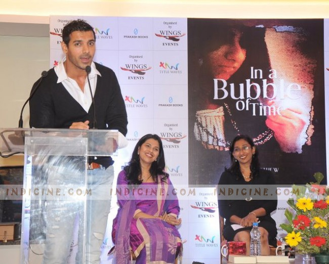 John Abraham talks at his sister Susy Matthew's 'In a Bubble Of Time' book launch