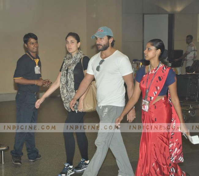Saif, Kareena snapped at the airport on their return from Paris