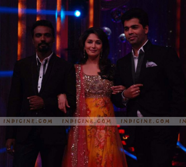 Remo D'Souza, Madhuri Dixit and Karan Johar at Jhalak Dikhla Jaa launch