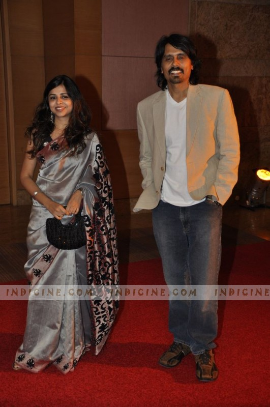 Nagesh Kukunoor with his wife at Anil Ambani Bash