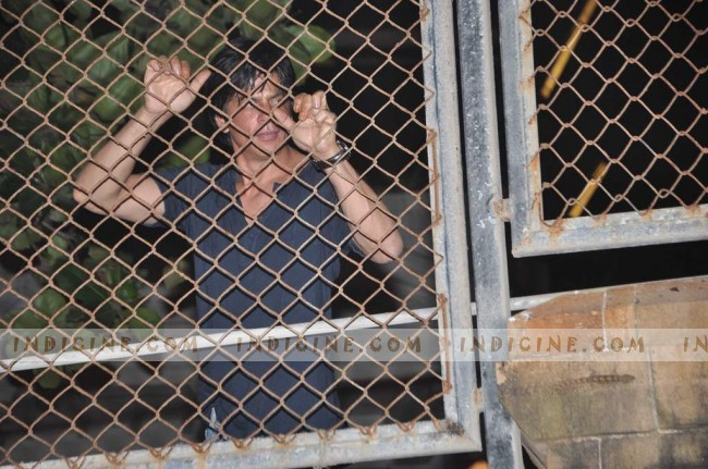 Shahrukh Khan waving to fans on his birthday at home