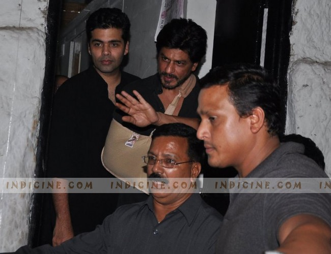 Shahrukh Khan waves to fans outside Olive