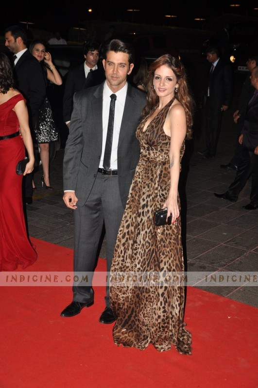 Hrithik Roshan with wife Sussanne Roshan at Karan Johar's 40th birthday bash
