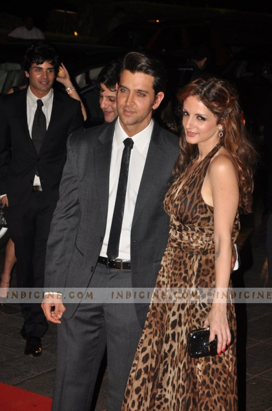 Hrithik Roshan with wife Sussanne Roshan at Karan Johar's 40th birthday party