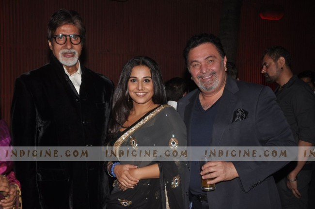 Amitabh Bachchan, Vidya Balan, Rishi Kapoor at The Dirty Picture success party
