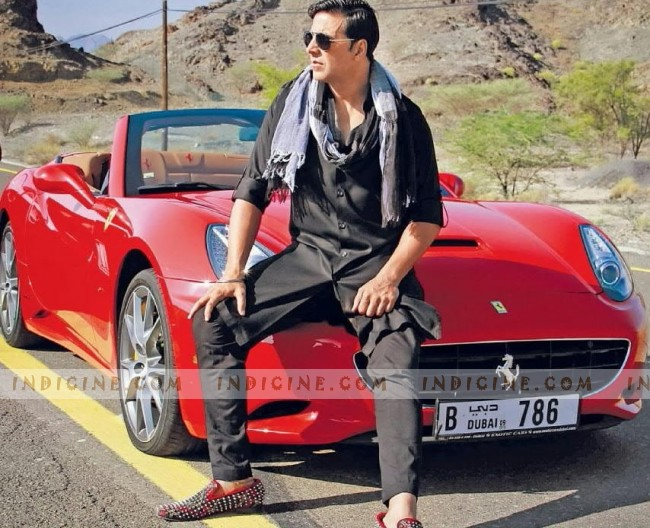 Akshay Kumar with his 786 numbered car from 'Khiladi 786' in Dubai