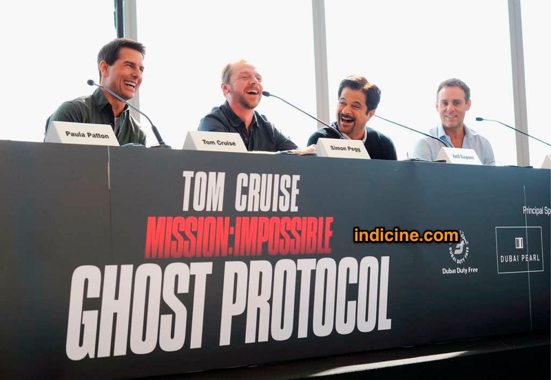 Indian Actor Anil Kapoor with Mission Impossible 4 cast Tom Cruise Movies