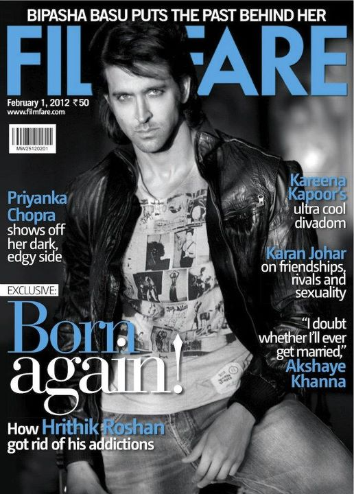 Hrithik Roshan on the cover of Filmfare February 2012