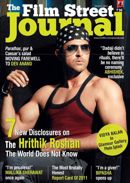 Hrithik Roshan on the cover of Film Street Journal January 2012