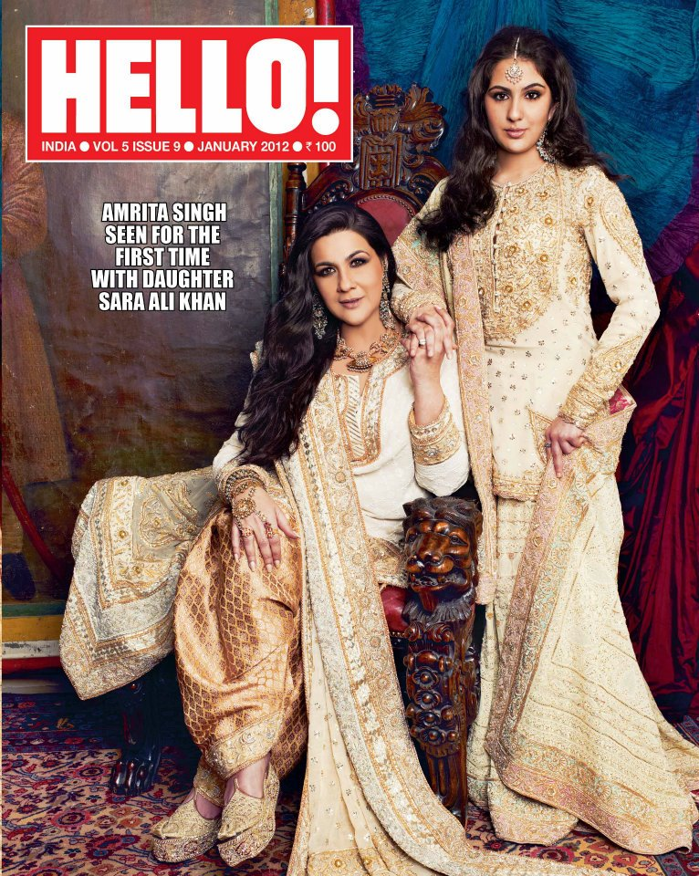 Amrita Singh with Sara Ali Khan on the cover of Hello India January 2012