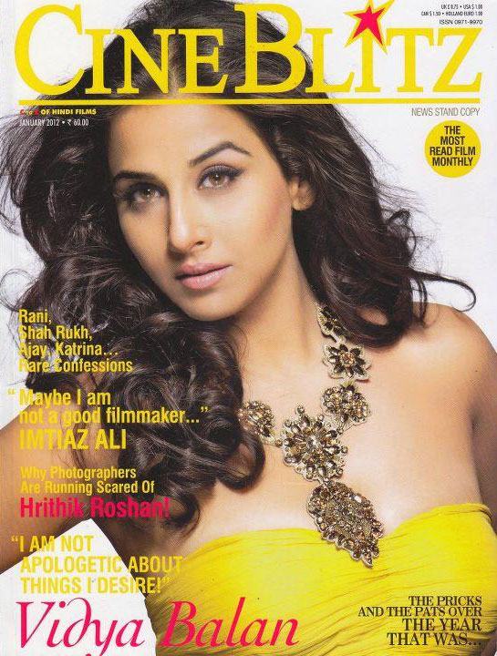 Vidya Balan on the cover of Cineblitz January 2012