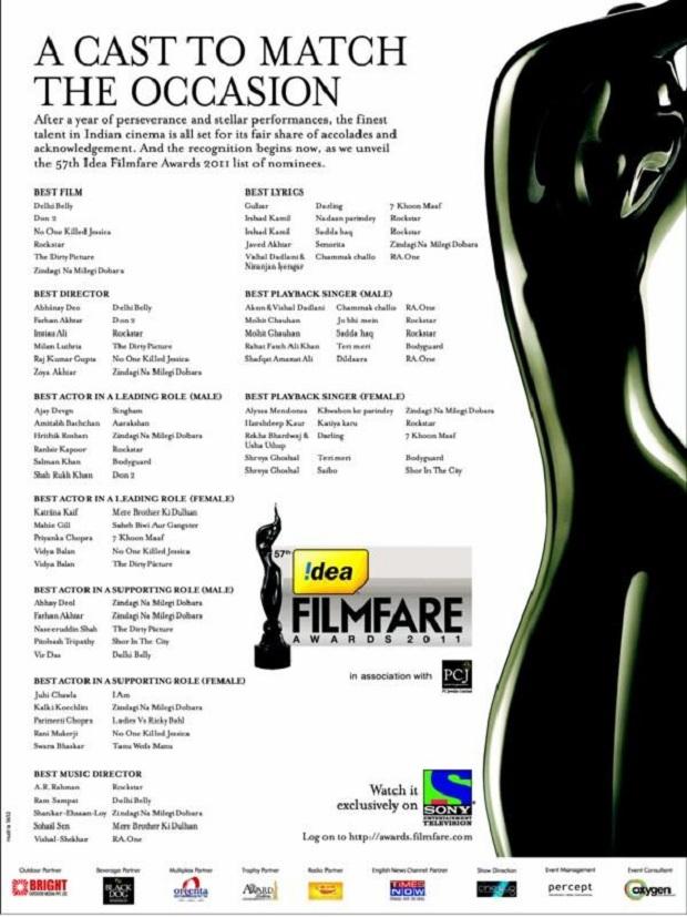 Filmfare Awards 2011 Nominations