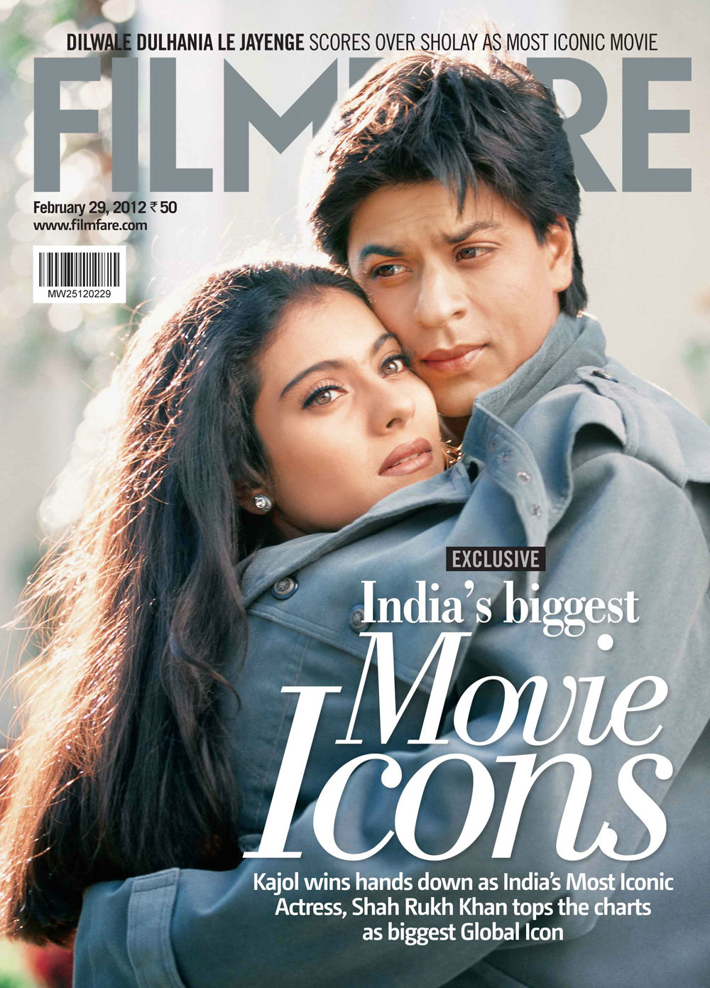 Shahrukh Khan and Kajol on the cover of Filmfare - February 2012