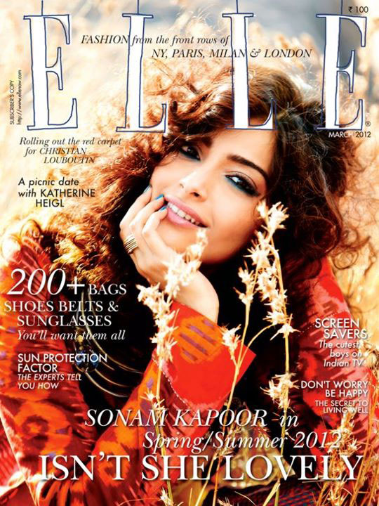 Sonam Kapoor on the cover of Elle India - March 2012