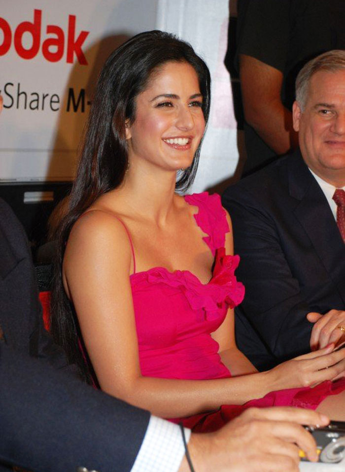 Katrina Kaif in pink off shouldered dress at Kodak V550 Digital camera launch