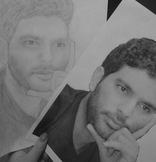Yuvraj Singh Sketches - Hand Drawn