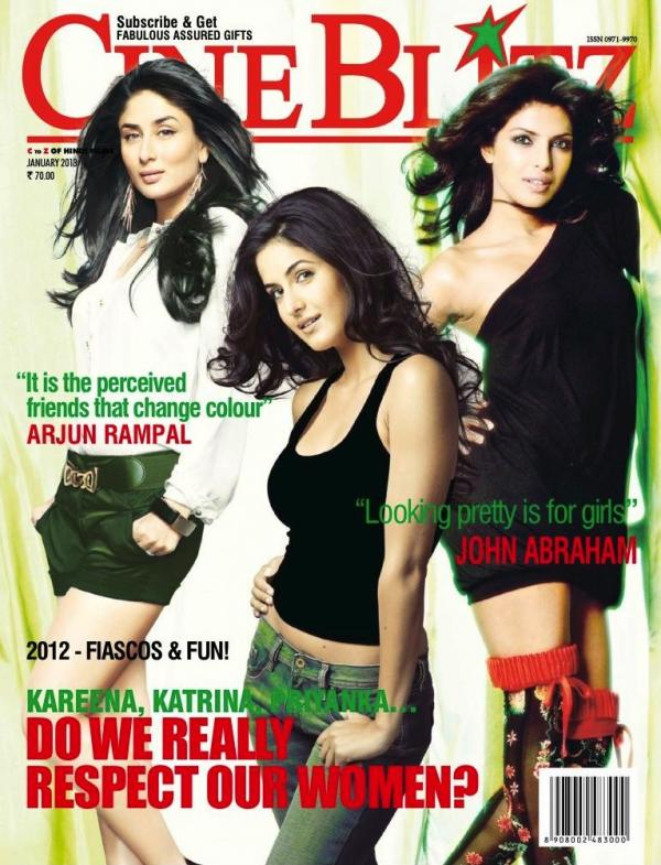 Kareena, Katrina, Priyanka on the cover of Cineblitz - January 2013