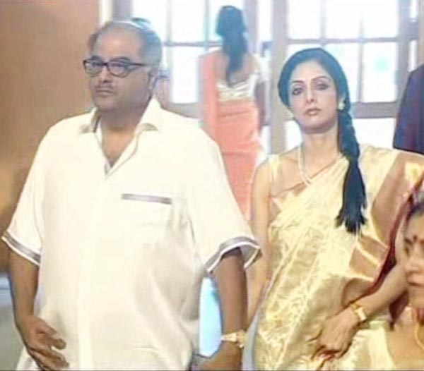 Boney Kapoor with wife Sridevi at Ram Charan, Upasana Wedding