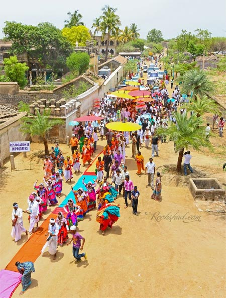 Ram Charan wedding procession outside the Domakonda Fort's Shiva Temple