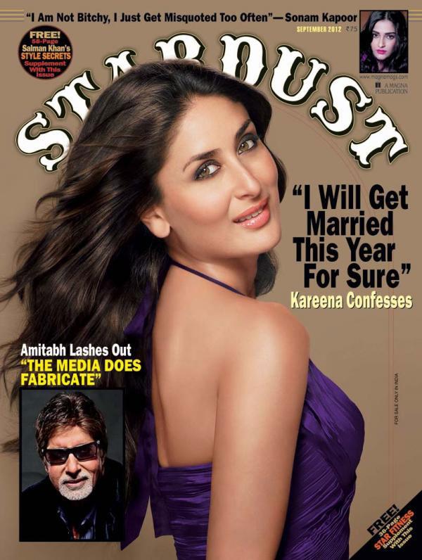 Kareena Kapoor on the cover of Stardust - September 2012