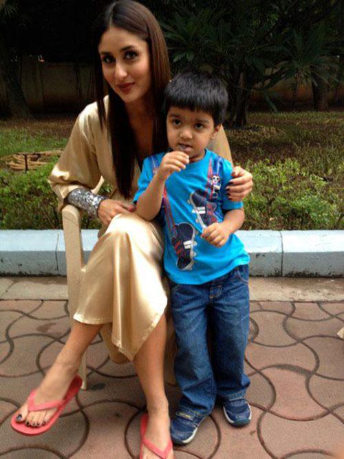 Kareena Kapoor with small kid on the sets of Heroine
