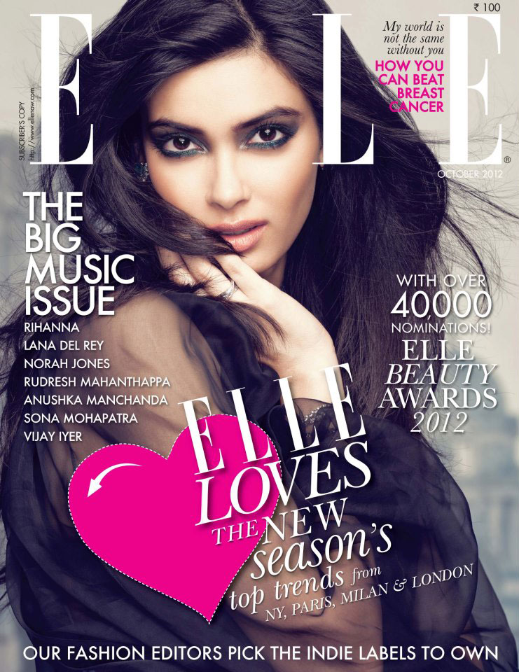 Diana Penty on the cover Elle India - October 2012
