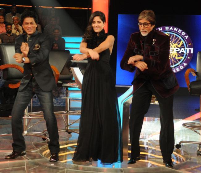 Shahrukh Khan and Katrina Kaif dancing with Big B on KBC