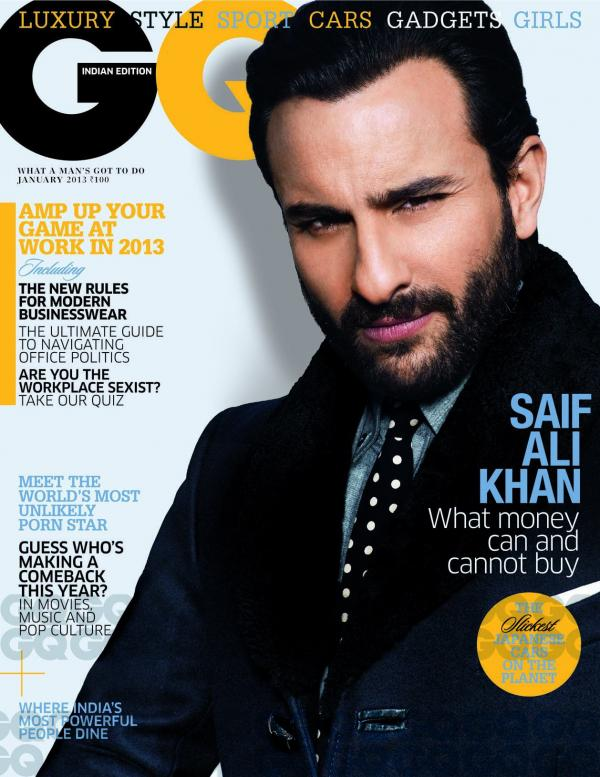 Saif Ali Khan on the cover of GQ India - January 2013