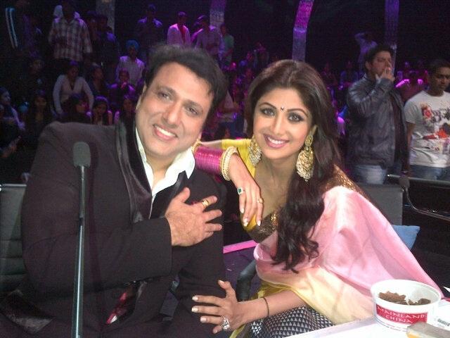 Shilpa Shetty with Govinda on the sets of Nach Baliye