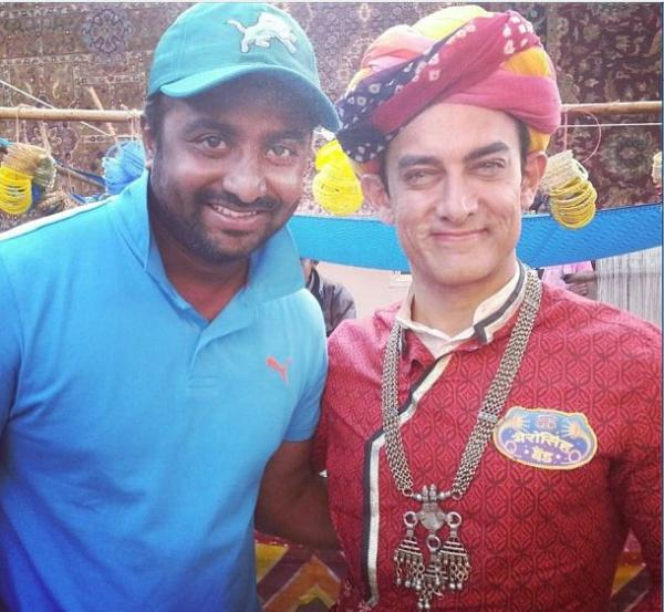 Aamir Khan in a Rajasthani outfit on the sets of Peekay