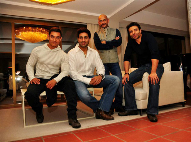 Vijay Krishna Acharya with Aamir Khan, Abhishek Bachchan and Uday Chopra