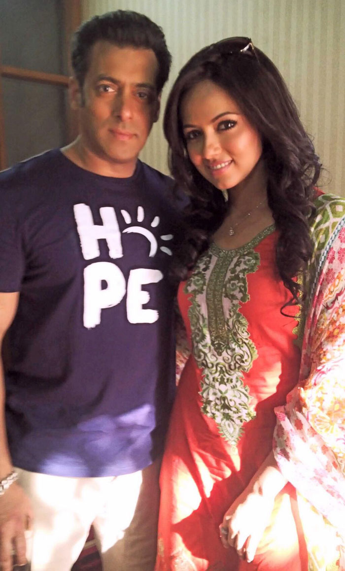 Salman Khan with Sana Khan on the sets of Mental