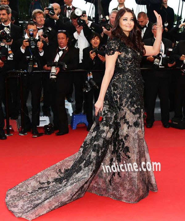 Aishwarya Rai in black and grey Elie Saab couture gown