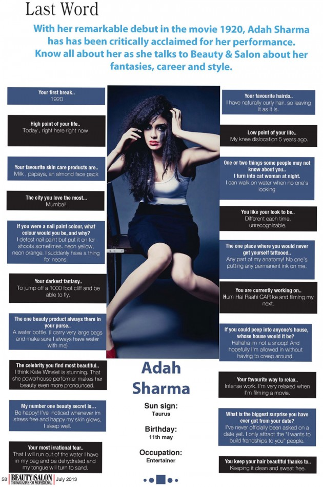 Adah Sharma Beauty and Salon Magazine Scan