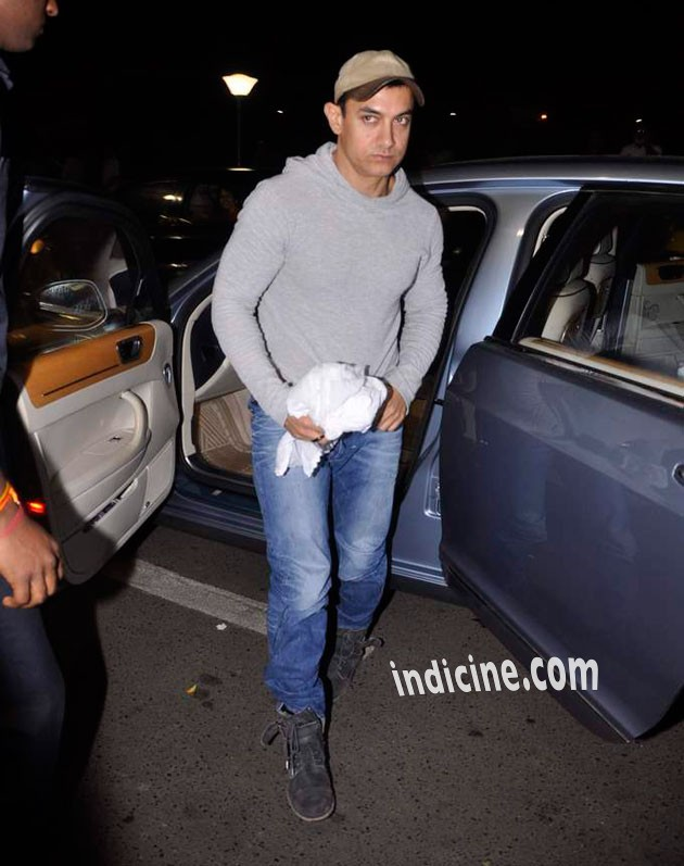 Aamir Khan snapped as he left for Singapore