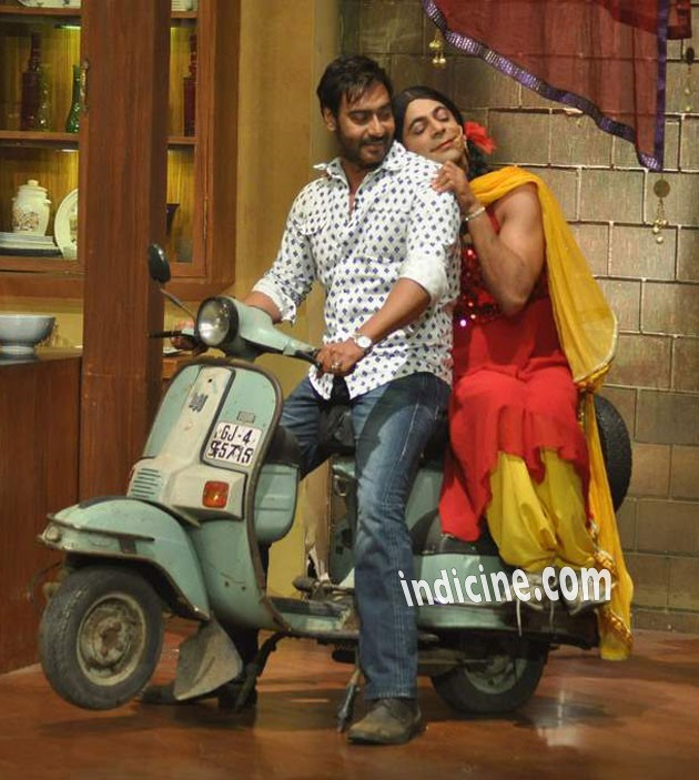 Ajay on the sets of Comedy Nights with Kapil