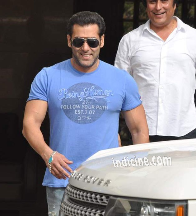 Salman Khan outside his residence in Bandra