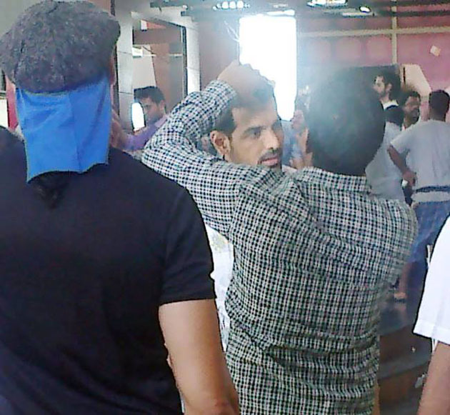 John Abraham on the sets of Welcome Back