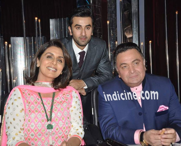 Ranbir Kapoor with mother Neetu Singh and father Rishi Kapoor