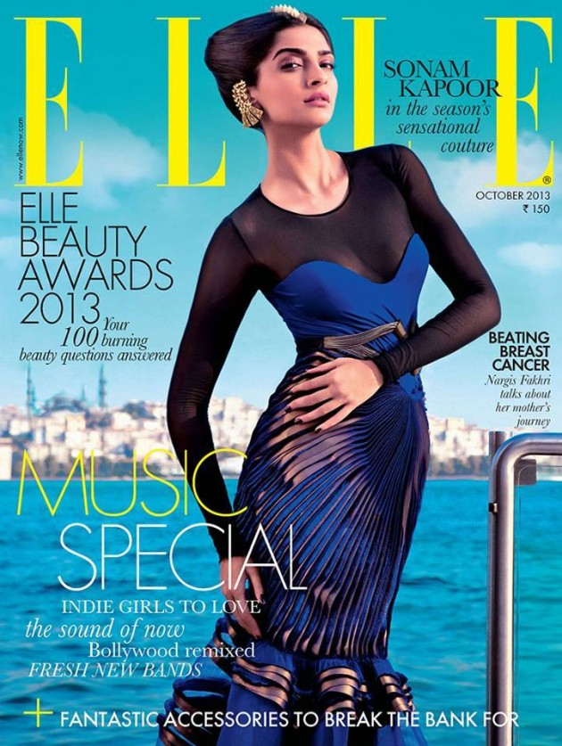 Sonam Kapoor in Amit Aggarwal couture for Elle Magazine