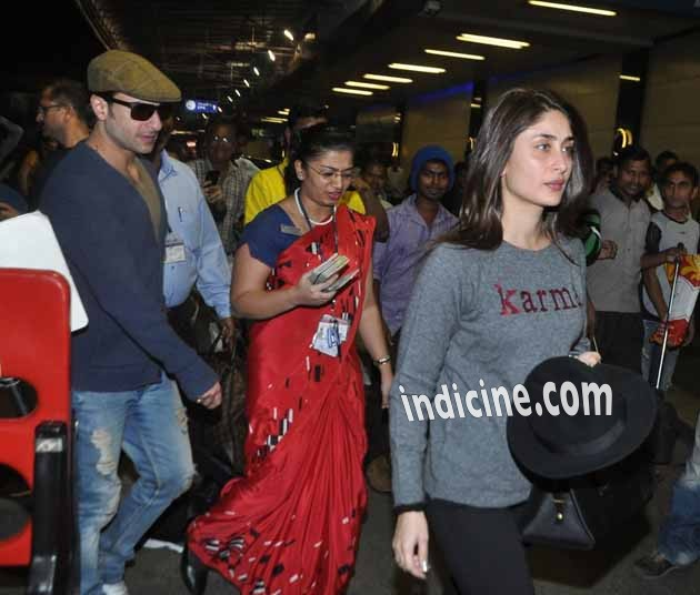 Saif Ali Khan with wife Kareena Kapoor leave for their Swiss vacation
