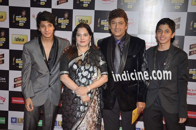 Aadesh Shrivastav with wife and sons