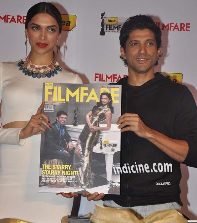 Deepika and Farhan unveil Filmfare Awards issue