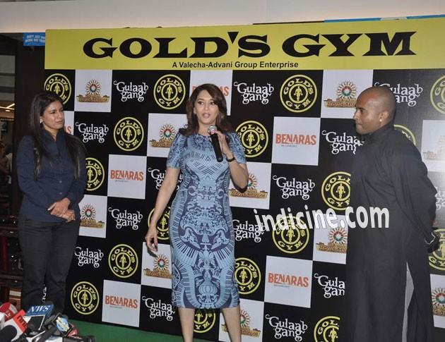 Madhuri Dixit promotes Gulaab Gang at Gold Gym