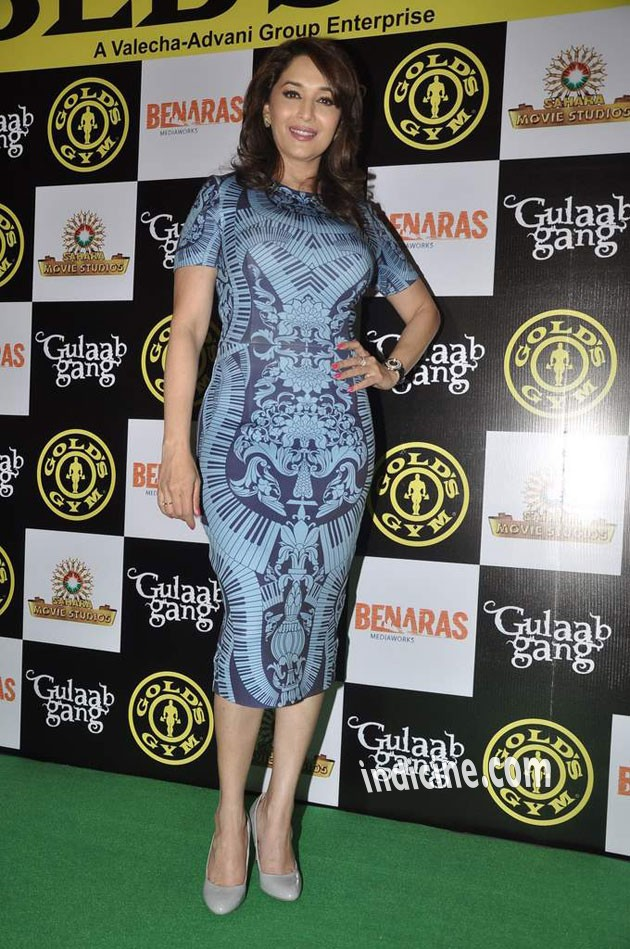 Madhuri Dixit promotes her film Gulaab Gang at Gold Gym