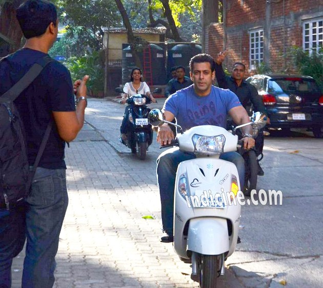 Salman Khan snapped on a scooter